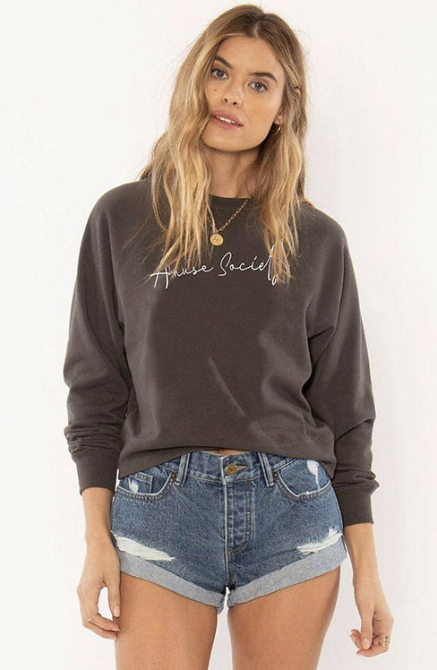 AMUSE SOCIETY | Script Knit Pullover | Charcoal