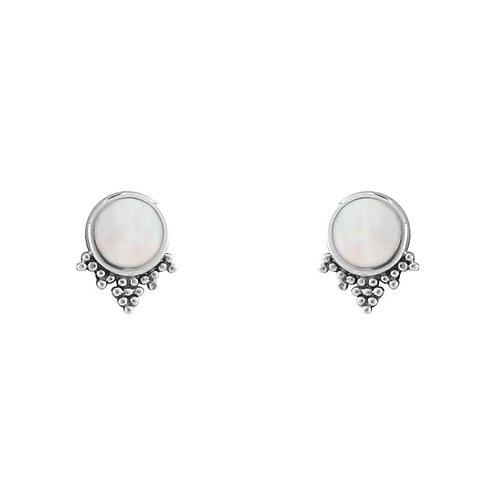 MIDSUMMER STAR | Mystic Mirror Pearl Studs | Silver