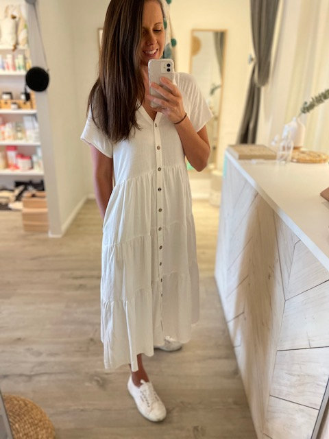 Audrey Linen Dress | White