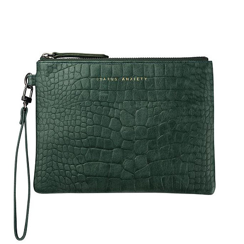 STATUS ANXIETY | Fixation Clutch | Teal Croc Emboss