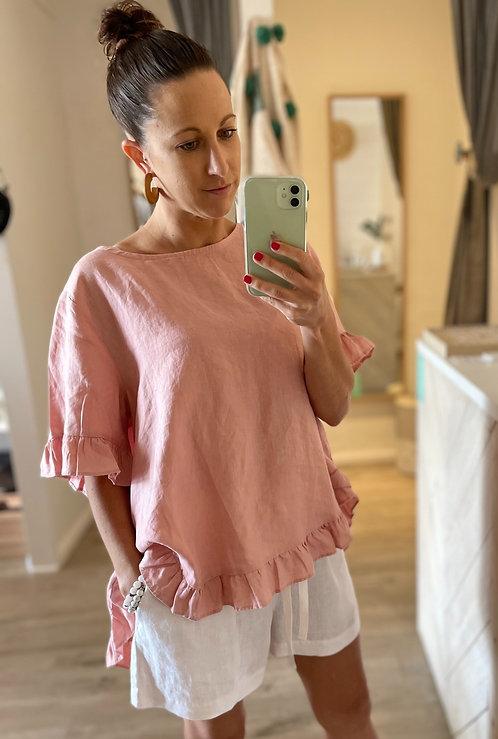 The Pia Linen Top   Blush