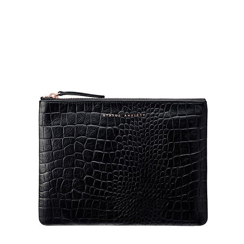 STATUS ANXIETY | Fake It Clutch | Black Croc Emboss