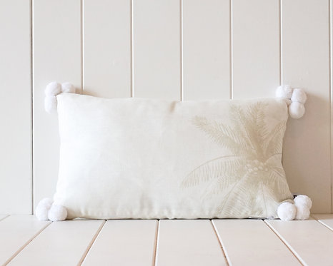 Linen Pompom Cushion | White and Cream with Light Sage Palm Print