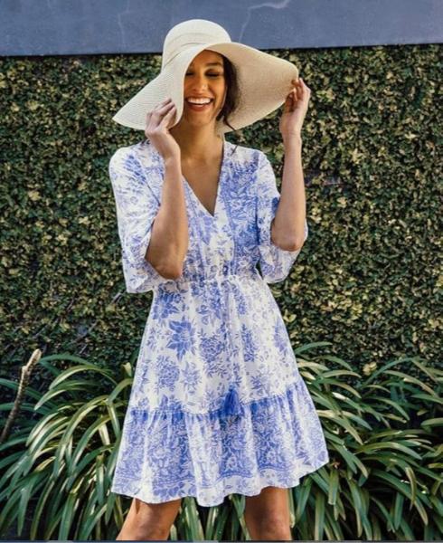 Lynn Dress | Blue Floral