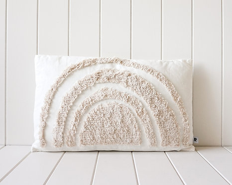 Rainbow Cushion | Natural on White