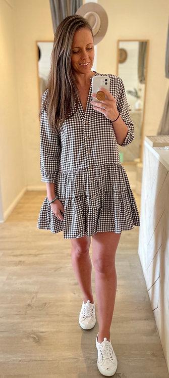 Ellie Dress | Mocha Gingham