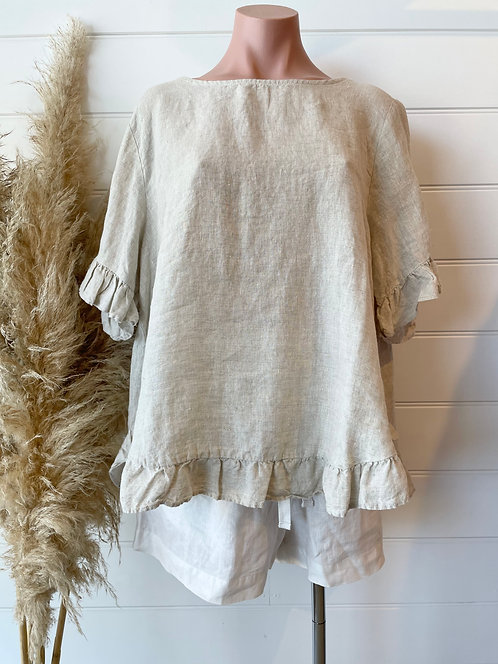 The Pia Linen Top | Natural