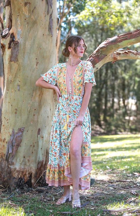 Sally Maxi Dress | Beige Floral