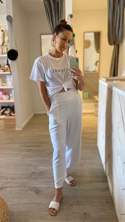 Olivia Linen Culottes   White
