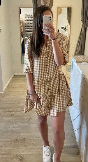 Taylor Dress | Camel Gingham