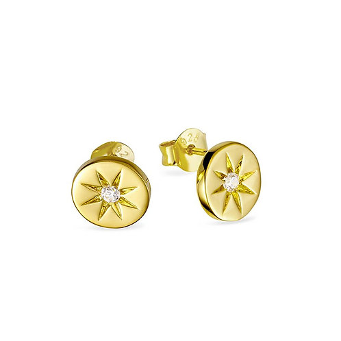 Midsummer Star | Gold Enchanted Light Crystal Studs