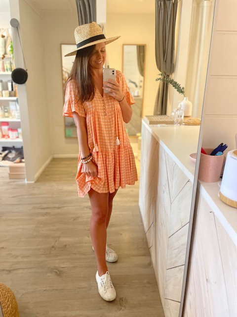 Bri Dress | Peach Gingham