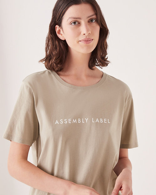 ASSEMBLY LABEL | Logo Cotton Crew Tee | Washed Khaki
