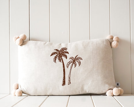 Linen Pompom Cushion | Natural and Cream with Rust Palm Print