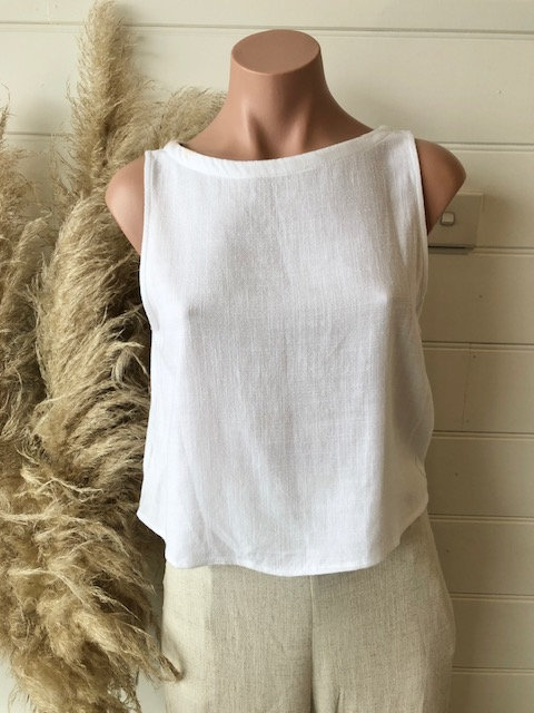 Chloe Linen Top | White