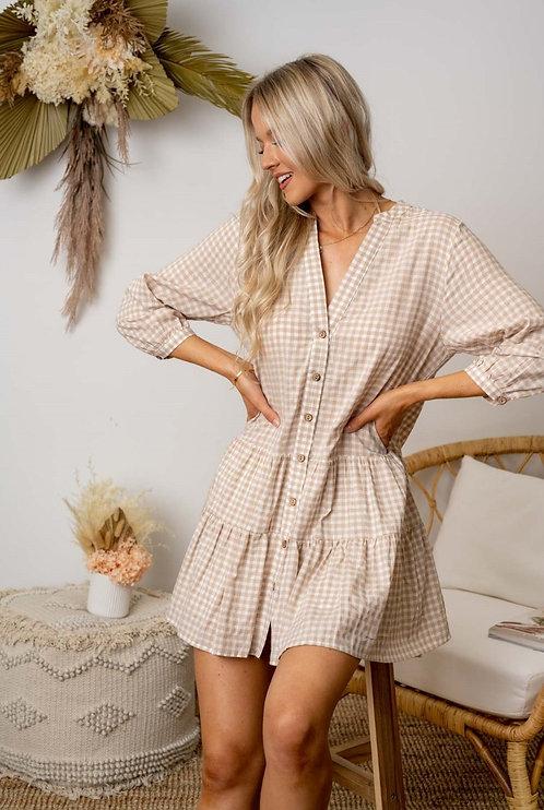 Ellie Dress | Natural Gingham