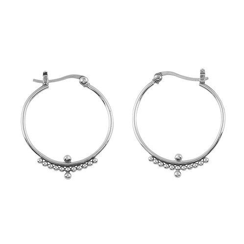 MIDSUMMER STAR | Beaded Horizon Hoops | Silver