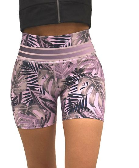 High Rise Biker Short Pattern Purple