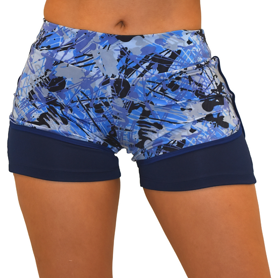 Workout Running Shorts -High Waist Training Sports -Blue Shorts  2 in 1