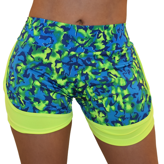 Workout Running Shorts - High Waist Training  Sports -Neon shorts  2 in1