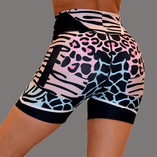 High Rise Bike Pattern Leopard Pink/Blackk