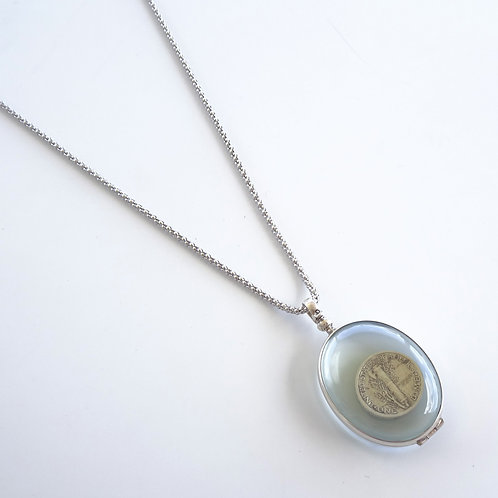 Sterling Silver Large Oval Locket