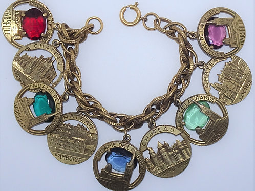 Vintage French Souvenir Chateau Charm Bracelet