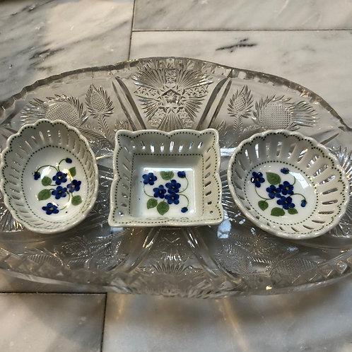 Openwork Dish - Blue Violets Pattern