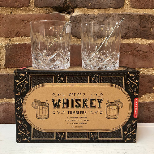 Set of 2 Whiskey Tumblers & Steel Picks