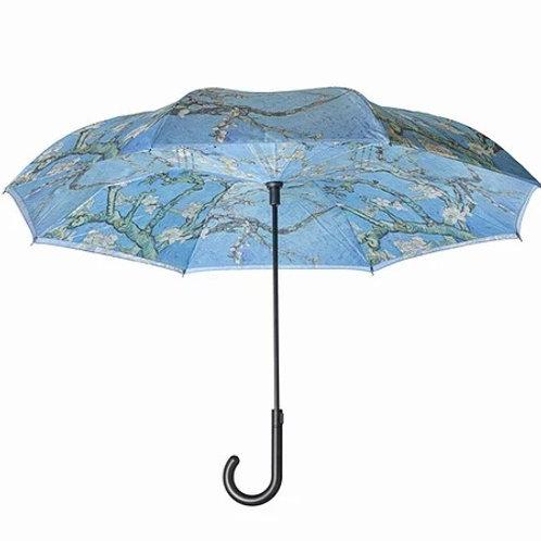 Reverse Close Stick Umbrella - Van Gogh Almond Blossoms