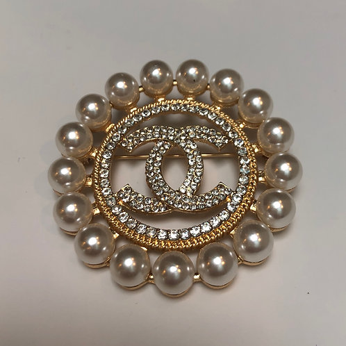 Designer Inspired Faux Pearl and Rhinestone Pin