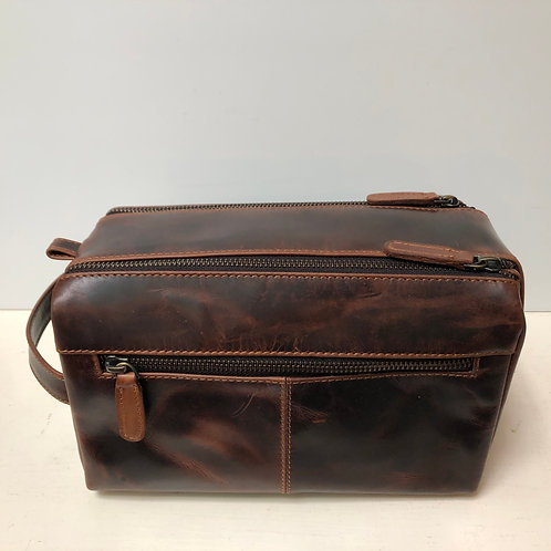 Men's Brown Dual Top Zip Dopp Kit