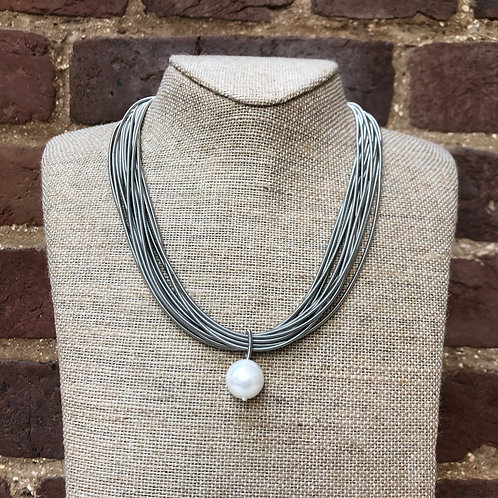Sea Lily Silver Piano Wire Necklace with Mother of Pearl Drop