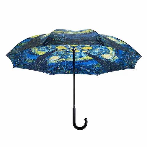 Reverse Close Stick Umbrella -Van Gogh Starry Night