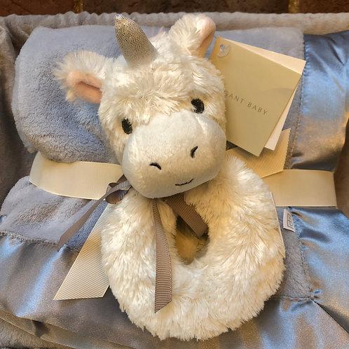 Plush White Unicorn Baby Rattle