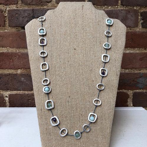 "Silvertone Sea Lily 38"" Natural Stone Necklace"
