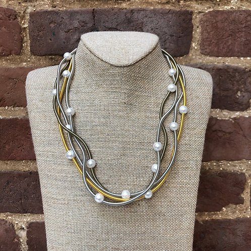 Sea Lily Multi-Tone Piano Wave Wire Necklace with Mother of Pearls