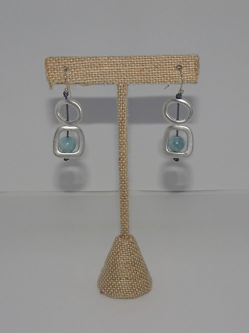 Silvertone Sea Lily Natural Stone Earrings