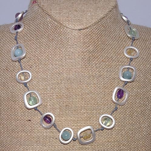 "Silvertone Sea Lily 18"" Natural Stone Necklace"
