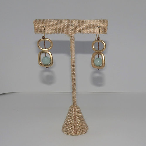 Goldtone Sea Lily Natural Stone Earrings