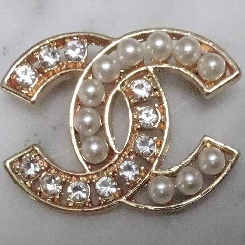 Designer Inspired Rhinestone & Faux Pearl Pin