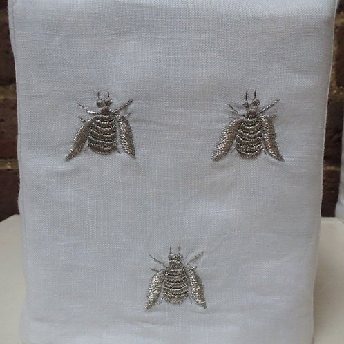 Embroidered Bee Tissue Box Cover - Metallic on White