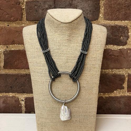 Sea Lily Gunmetal Matte Hematite Necklace with Baroque Pearl