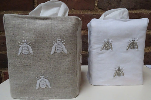 Embroidered Bee Tissue Box Cover