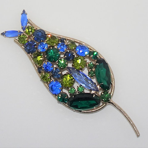 Large Vintage Green & Blue Rhinestone Flower Brooch. Goldtone.