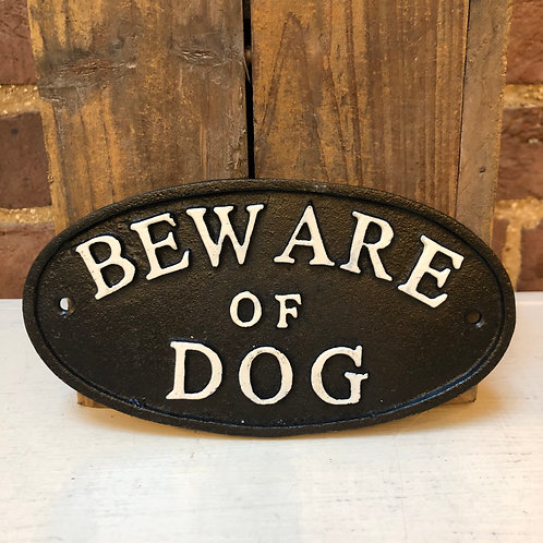 Cast Iron BEWARE OF DOG Oval Wall Plaque