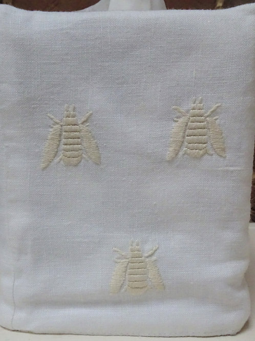 Embroidered Bee Tissue Box Cover - Cream on White