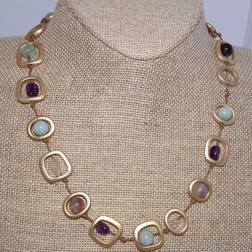 """Goldtone Sea Lily 18"""" Natural Stone Necklace"""