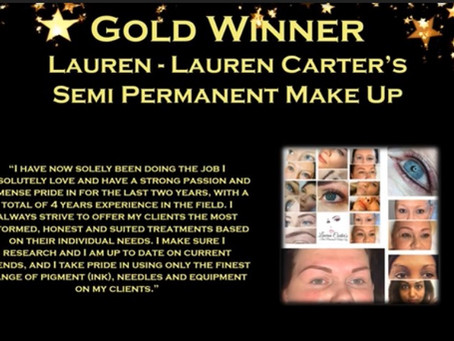 I've won The National Hair And Beauty Awards for Best Semi Permanent Make Up Artist in the UK!!