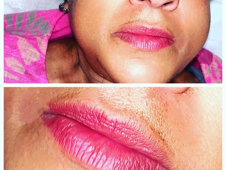 Dark lip tone lip tattooing…